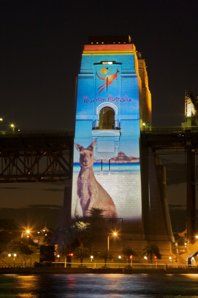 Tourism Australia projection on the south pylon of the Harbour Bridge for World Youth Day.