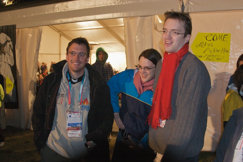 John, Elizabeth, and Thomas outside one of the Eucharistic Adoration tents before the Vigil at Royal Randwick Racecourse on the night before the final Mass said by the Pope of the World Youth Day in Sydney.