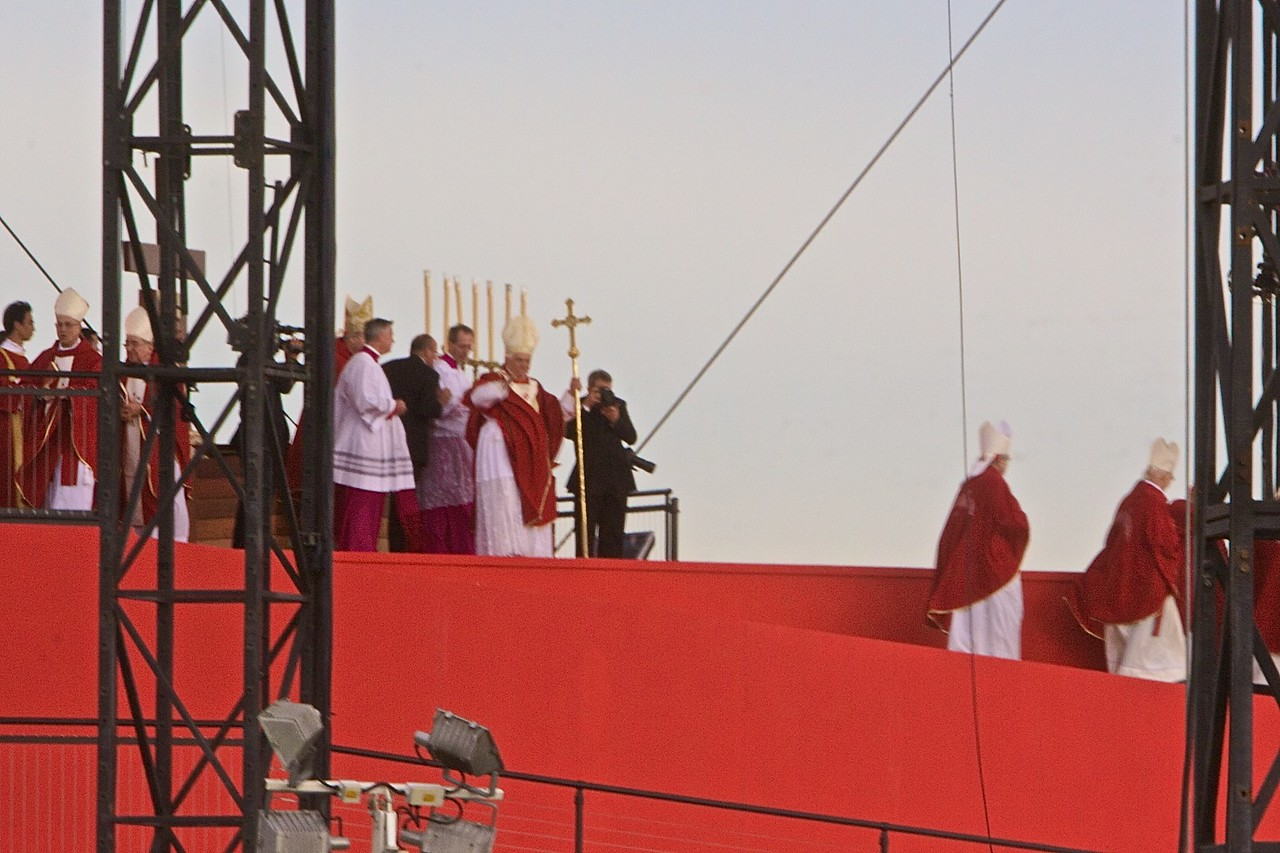 The Pope waves goodbye to pilgrims at Randwick Racecourse after saying the final Mass of the World Youth Day in Sydney—his last official appearance.