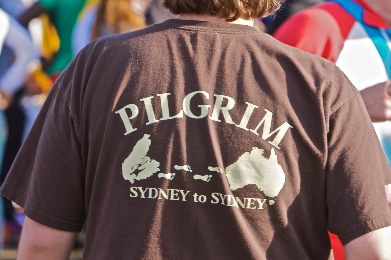 A T-shirt I spotted at Barangaroo—east Darling Harbour—before the Pope's official arrival by boat around Sydney Harbour. You occasionally hear stories of people getting cheap fares to visit Sydney before they realize that they've just bought a ticket to distant Nova Scotia: whether or not the story is true I don't know, but it makes for an amusing tale nevertheless.