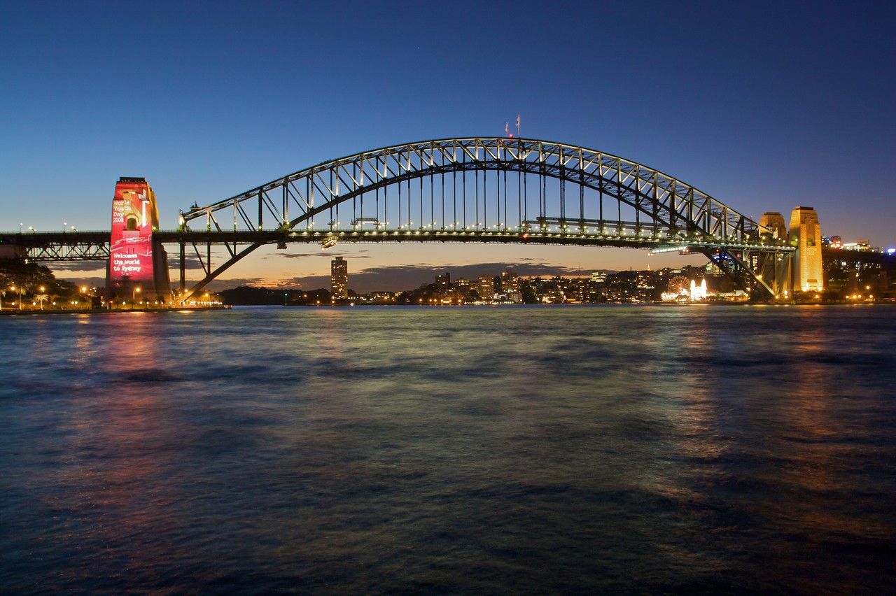 World Youth day projections on the south pylon of the Harbour Bridge.
