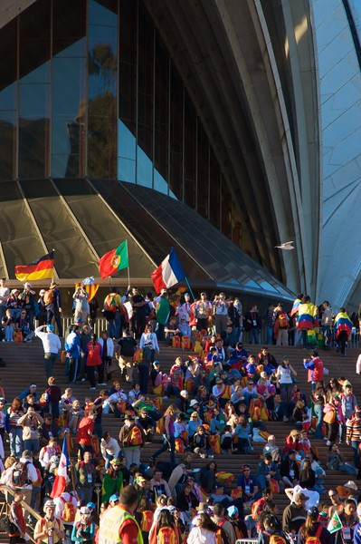 Pilgrims from all over the world on the steps of the Opera House.