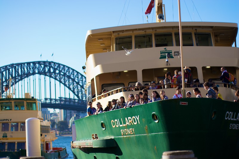 Pilgrims packed on to a Manly ferry leaving Circular Quay.