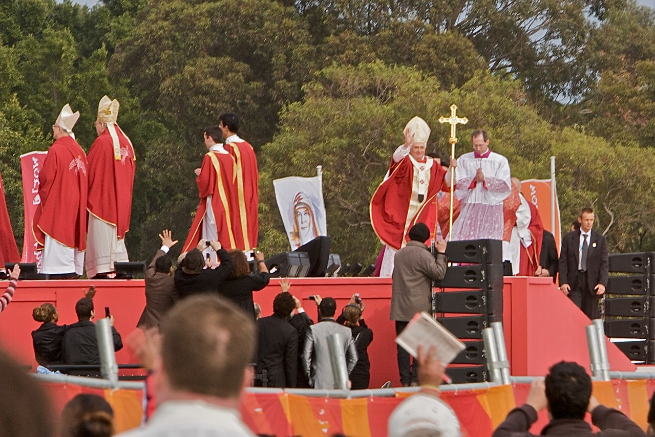 The Pope processes in to say the final Mass of the World Youth Day in Sydney at Royal Randwick Racecourse.