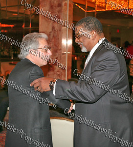 City of Newburgh Mayor Nicholas Valentine is greeted by Glenn Hines Boys & Girls Club Chief Professional Officer Rev Nelson McAllister at the Glenn Hines Boys & Girls Club 1st Dinner Dance held at Anthony's Pier Nine in New Windsor on Friday, October 3, 2008.
