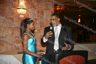 Glenn Hines Boys & Girls Club Chief Professional Officer Rev Nelson McAllister introduces the 2008 Youth of the Year, Ms. Dotrine Jacobs during the club's 1st Dinner Dance held at Anthony's Pier Nine in New Windsor on Friday, October 3, 2008.