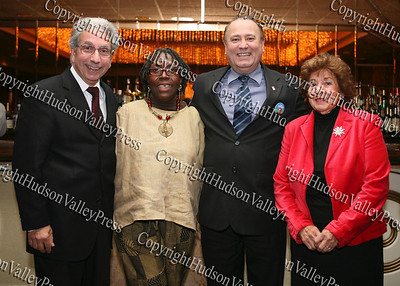 City of Newburgh Mayor Nicholas Valentine, City of Newburgh Councilwoman Marge Bell, Democratic candidate for the 100th Assembly Frank Skartados and City of Newburgh Councilwoman Regina Angelo pose for a picture at the Glenn Hines Boys & Girls Club 1st Dinner Dance held at Anthony's Pier Nine in New Windsor on Friday, October 3, 2008.