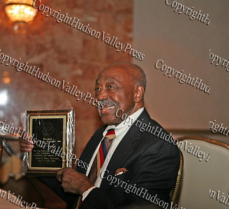 Mr Walter Grannum proudly displays his plaque after being inducted into the Glenn Hines Boys & Girls Club Hall of Fame during the 1st Dinner Dance held at Anthony's Pier Nine in New Windsor on Friday, October 3, 2008.