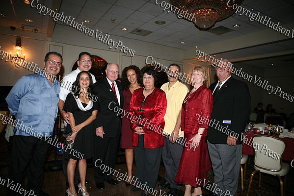 Angel Figueroa, Doris Perez, Richard Rivera, Sen. William Larkin, Lourdes Zapata- Perez, Joanne Lugo, Peter Gonzalez, Dr. Karen Eberle-McCarthy and Orange County Legislator James Kulisek at the Third Annual Latinos Unidos Dinner and Dance held at Anthony's Pier 9 in New Windsor on October 17, 2008.