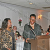 Nancy Colas is presented her award by Tiombe Tallie Carter at the NAACP Freedom Fund Banquet held at the Spruce Lodge in Montgomery on Saturday, October 4, 2008.