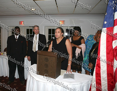 Ramona Burton gives an acceptance speech after being presented an award on behalf of Liberty Partnership Program at the NAACP Freedom Fund Banquet held at the Spruce Lodge in Montgomery on Saturday, October 4, 2008.