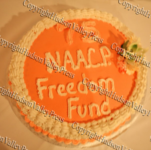 """Cake served at the NAACP Freedom Fund Banquet held at the Spruce Lodge in Montgomery on Saturday, October 4, 2008 reads """"75 NAACP Freedom Fund."""""""