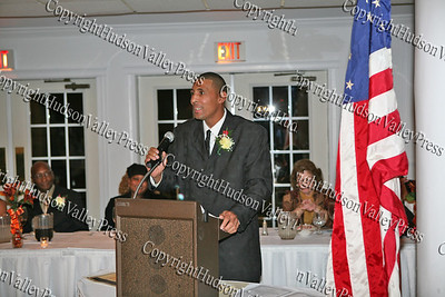 Harold Rayford gives his acceptance speech after receiving his award at the NAACP Freedom Fund Banquet held at the Spruce Lodge in Montgomery on Saturday, October 4, 2008.