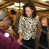 City of Newburgh Democratic Committee vice chairwoman Lilliam Harris greets New York's first lady Michelle Paterson with City of Newburgh deputy mayor Regina Angelo during the annual Orange County Democratic Women's dinner.