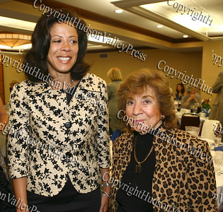 New York's first lady Michelle Paterson and City of Newburgh deputy mayor Regina Angelo during the annual Orange County Democratic Women's dinner.