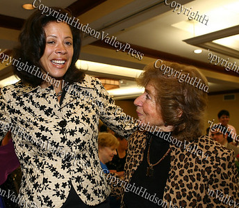 New York's first lady Michelle Paterson with City of Newburgh deputy mayor Regina Angelo during the annual Orange County Democratic Women's dinner