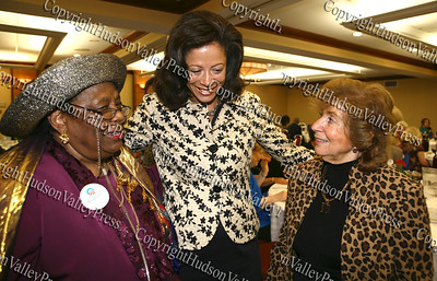 City of Newburgh Democratic Committee vice chairwoman Lilliam Harris with New York's first lady Michelle Paterson and City of Newburgh deputy mayor Regina Angelo during the annual Orange County Democratic Women's dinner.