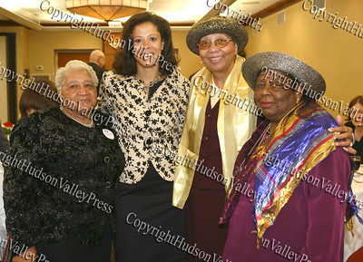 City of Newburgh Democratic Committee members Roxie Royal, Sadie Tallie and Lilliam Harris with New York's first lady Michelle Paterson during the annual Orange County Democratic Women's dinner.