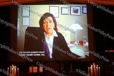 Linda Muller, President and Chief Executive Officer of the Greater Hudson Valley Family Health Center, is shown in a video presentation during the 9th Annual Pillars of the Community Gala held at Anthony's Pier 9 on Saturday, November 8, 2008.
