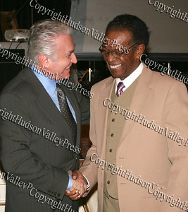 US Rep Maurice Hinchey and Isaiah Robinson during the 10th Annual Tuskegee Airmen Tuition Assistance Dinner, held on February 2, 2008, at Anthony's Pier 9 in New Windsor, New York.
