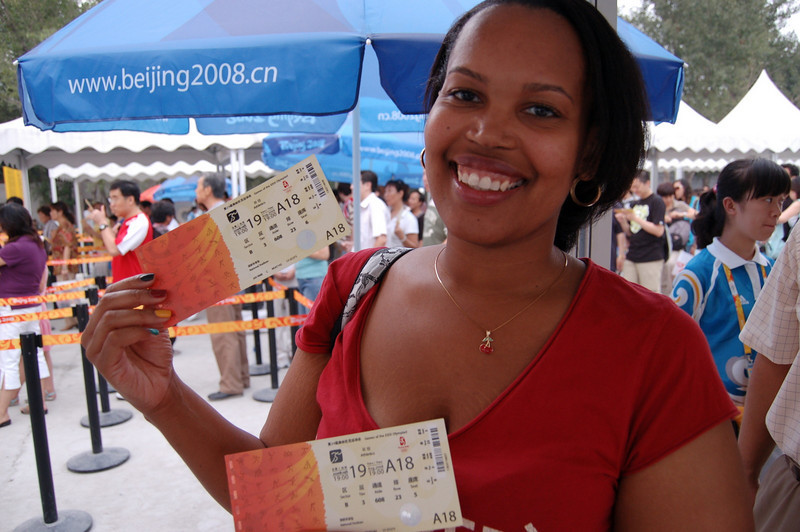 Sherry with athletics tickets