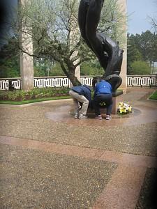 MacWilliam and Powell lay Alumni Association Wreath at Memorial at Omaha Beach - Lydia Osborne