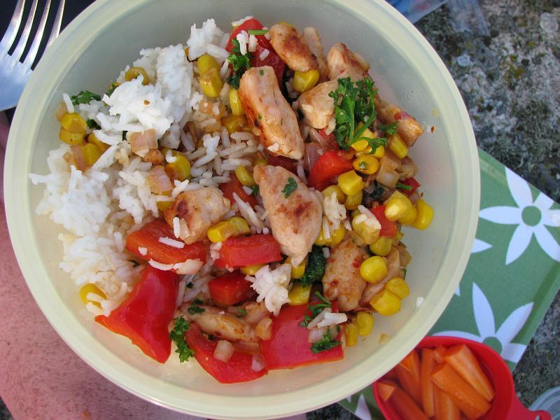 Kyckling, ris och grönsaker