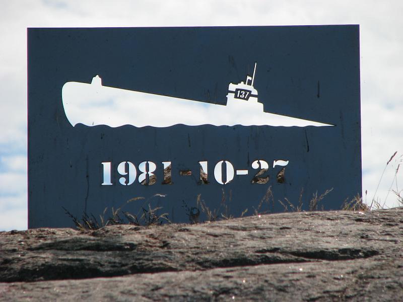 Torhamnaskär men skylt över ubåten U 137