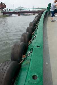 There are bumpers on all sides of this vessel.  Tires line each side with even larger bumpers in front and back.
