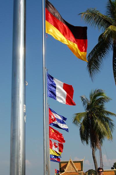 Flags in Phnom Penh