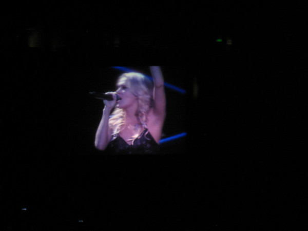 Carrie finally took the stage! This is a shot from the tv projectors. She was too small on the camera. Needed bigger zoom!