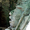 Profile of the head carving at the Mask Temple.  It has Olmec features.