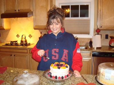 Roz and her birthday cheesecake