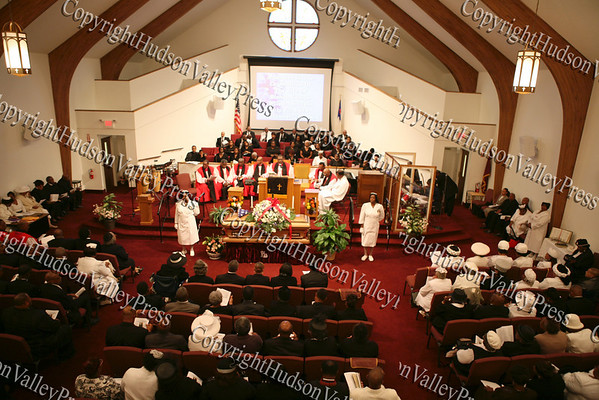Mount Carmel Church in the Town of Newburgh is full of friends and family paying their final respects to Bishop Johnson during the funeral service held Monday, October 6, 2008.