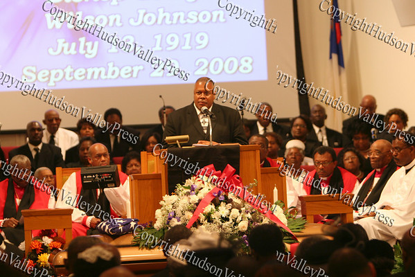 Rev Byron Williams, President of the NAACP, praises the lifelong work of Bishop Johnson during the celebration of life service held on Monday, October 6, 2008 at Mt. Carmel Church in the Town of Newburgh.