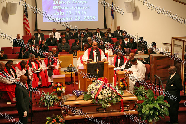 Bishop Leonard Brown offers a prayer during the funeral service of Bishop Johnson on Monday, October 6, 2008 at Mt. Camel Church in the Town of Newburgh.
