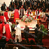 The processional of Bishops, Ministers and family pass by Bishop Johnson prior to the celebration of life service on Monday, October 6, 2008 at Mt. Carmel Church in the Town of Newburgh.