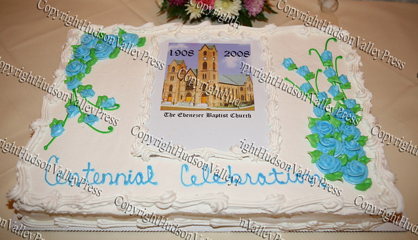 The cake for Ebenezer Baptist Church's 100th anniversary held at Anthony's Pier 9 on Friday, November 7, 2008.