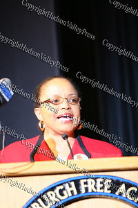 Dr Barbara Williams Emerson, the keynote speaker, during The 15th annual Martin Luther King, Jr Community-Wide Celebration's annual program at Newburgh Free Academy.