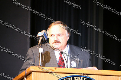 Ralph Pizzo offers a welcome during The 15th annual Martin Luther King, Jr Community-Wide Celebration's annual program at Newburgh Free Academy.