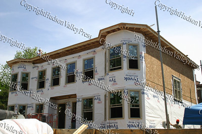 Habitat for Humanity of Greater Newburgh Builder Blitz at 208 & 210 Dubois Street in the City of Newburgh on day 2. The second story is coming together and roof work has begun.