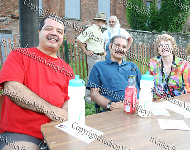 Latinos Unidos of the Hudson Valley had a booth at the Newburgh Free Library location during National Night Out. Angel Figueroa, Peter Gonzalez and Dr Karen Eberle-McCarthy are pictured at the table.