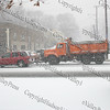 The first major snow storm of the 2008-2009 season, hit on Friday, December 19, 2008, left 10 inches of snow around the Hudson Valley. Department of Public Works plow and salt roads.