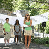 "Orange County Mental Health Association Executive Director Nadia Allen welcomes everyone to the ""Speak Out"" stopping sexual violence in our communtiy event in Downing Park on August 23, 2008. Behind her are Donna Lindemann of Orange Pride and event organizer Tharicia McZorn."