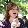 "Safe Homes of Orange County Executive Director Michele McKeon at the ""Speak Out"" stopping sexual violence in our community event in Downing Park on August 23, 2008."