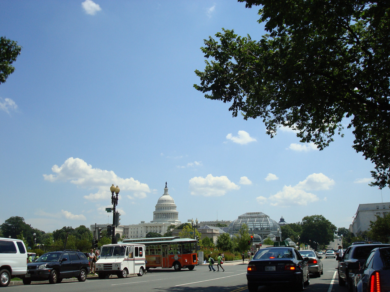 At a red light when driving from the National Cathedral. The Capital building and the Arboretum.