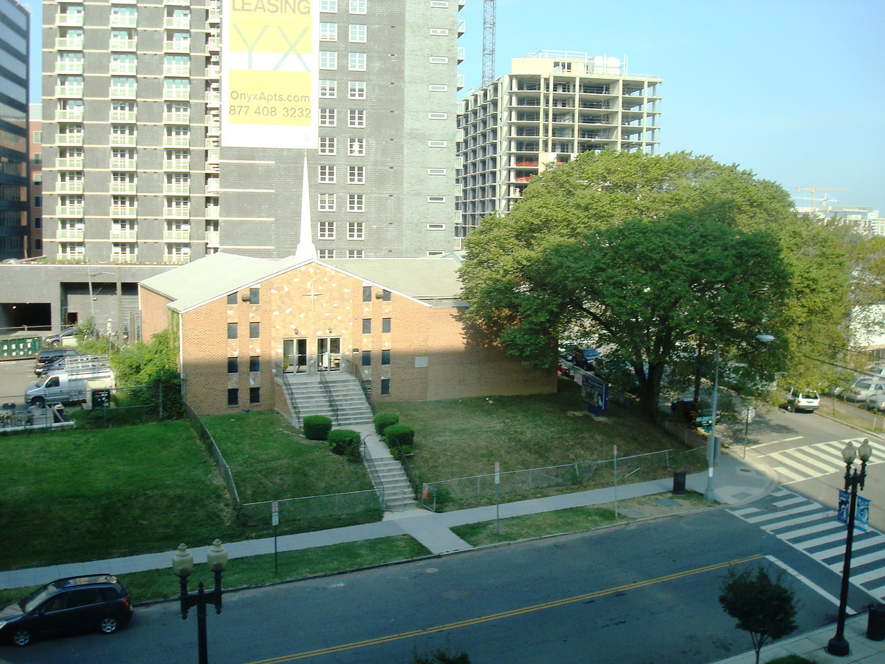 The view from my office window. A Baptist church.