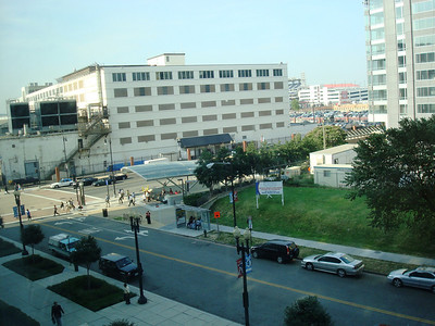 The view from my office window. The Metro stop is on the corner there. The baseball stadium is in the back, seen between the two buildings in the background.