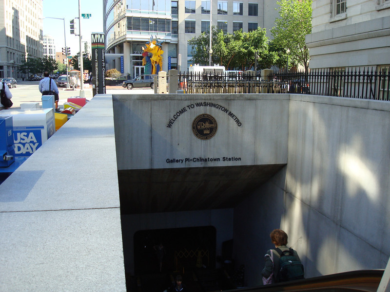 The Metro stop across from the library