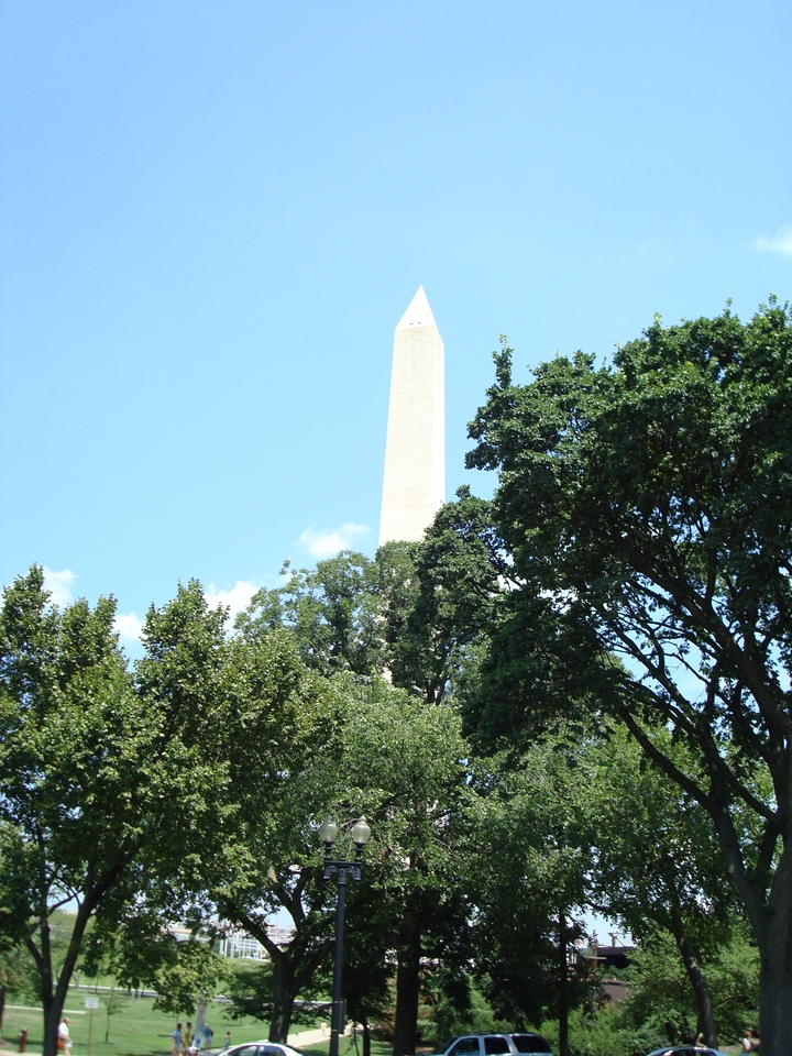 While driving home from the Washington National Cathedral, I passed the Washington Monument. Since I was stopped at a red light, I took a photo.